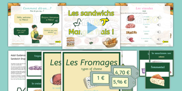 French Sandwich Shop Role Play Area Pack - french, languages, french, roleplay, food, sandwiches