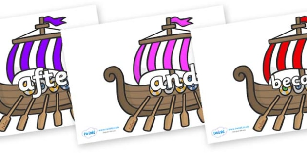 Connectives on Viking Longboats - Connectives, VCOP, connective resources, connectives display words, connective displays