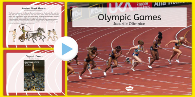 Olympics Information PowerPoint Romanian Translation - romanian, Brazil, Rio 2016, Modern, Ancient Greek, Olympic Rings, Olympic Torch