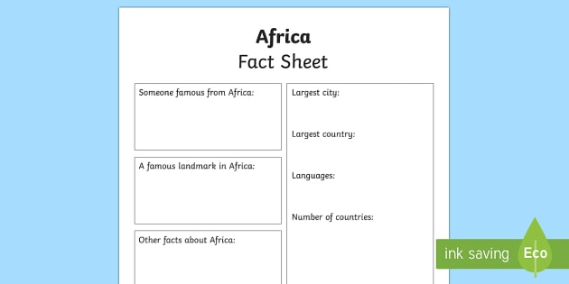 Africa Factsheet Writing Template - africa, africa fact sheet, africa fact file, africa worksheet, facts about africa, africa information hunt, geography