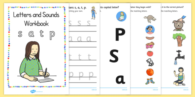 Letters and Sounds Workbook (s, a, t, p) - Letters and Sounds, handwriting, letter formation, workbook, writing practice, foundation, uppercase, letters, writing, learning to write, DFES