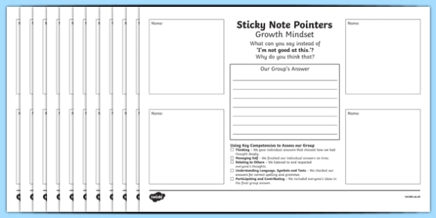 New Zealand Growth Mindset Sticky Note Pointers Activity Sheets, worksheet