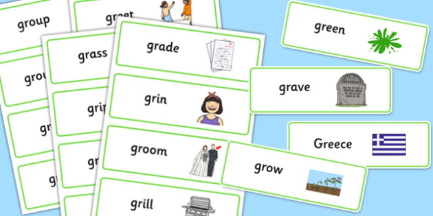 GR Word Cards -speech sounds, phonology, articulation, speech therapy, cluster reduction, clusters, blends
