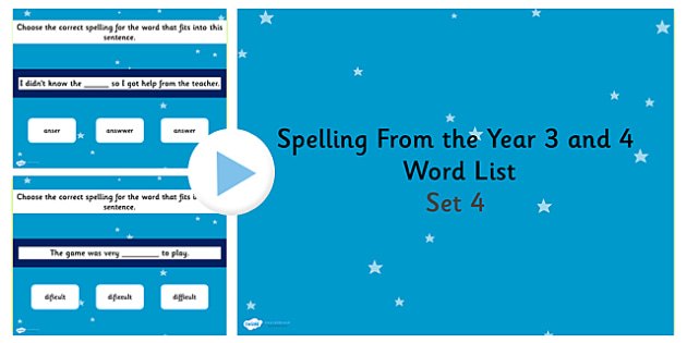 Spelling from the Year 3 and 4 Word List PowerPoint Quiz Set 4