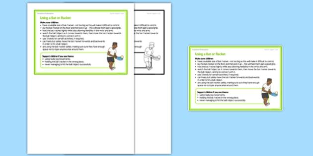 Foundation PE (Reception) Using a Bat or Racket Teacher Support Card - EYFS, PE, Physical Development, Planning