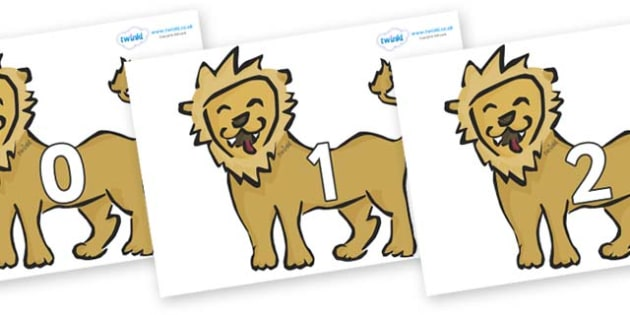 Numbers 0-31 on Lions - 0-31, foundation stage numeracy, Number recognition, Number flashcards, counting, number frieze, Display numbers, number posters