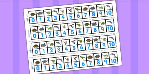 Realistic Dinosaurs Number Track 0 10 - dinosaur, number tracks