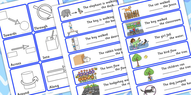 Fill In The Sentence With Directional Prepositions - positions