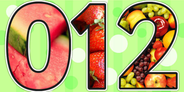 Healthy Eating Themed A4 Photo Display Numbers - healthy eating