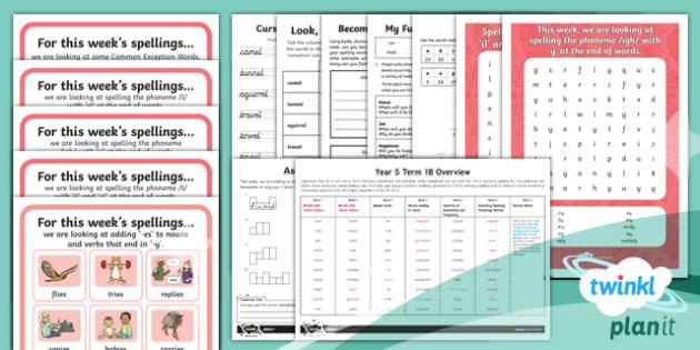 PlanIt Y2 Term 1B Bumper Spelling Pack - Spelling Pack,spell, national curriculum, SPaG, Y2, year 2