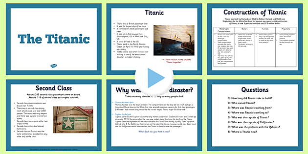 The Titanic Information PowerPoint - titanic, info, powerpoint
