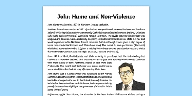 John Hume and Non-Violence Information Sheet