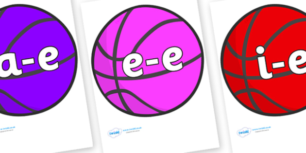 Modifying E Letters on Basketball - Modifying E, letters, modify, Phase 5, Phase five, alternative spellings for phonemes, DfES letters and Sounds