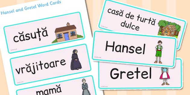 Hansel și Gretel - Cartonașe cu imagini și cuvinte