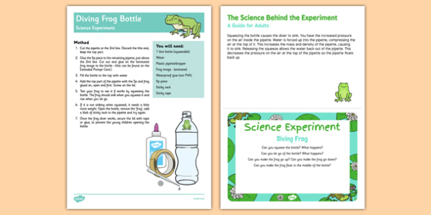 EYFS Diving Frog Science Experiment and Prompt Card Pack