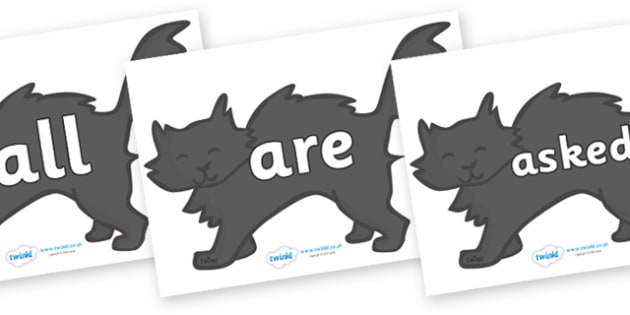 Tricky Words on Black Cats - Tricky words, DfES Letters and Sounds, Letters and sounds, display, words