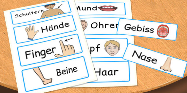 Parts of the Body Word Cards German - german, body, word, cards