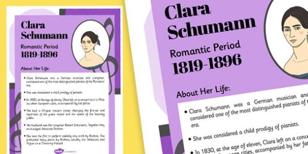 Clara Schumann Composer Display Poster - music, female, composers, clara schumann