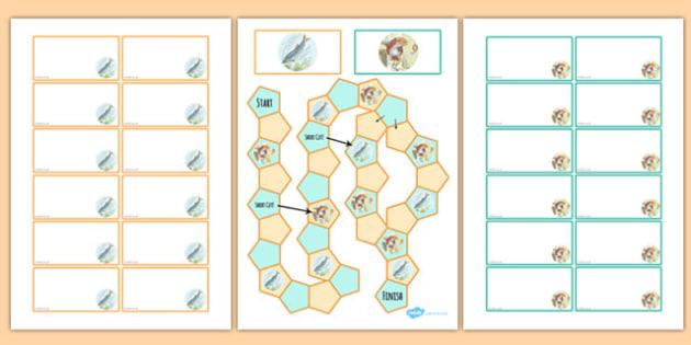 Beatrix Potter - The Tale of Mr Jeremy Fisher Themed Editable Board Game - beatrix potter, mr jeremy fisher