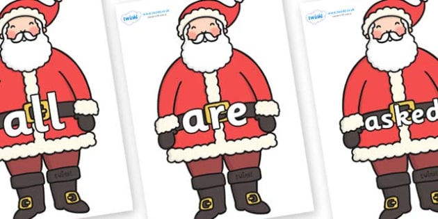 Tricky Words on Santa - Tricky words, DfES Letters and Sounds, Letters and sounds, display, words