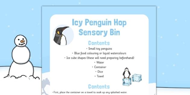 Icy Penguin Hop Sensory Bin - icy, penguin, hop, sensory bin, sensory, bin