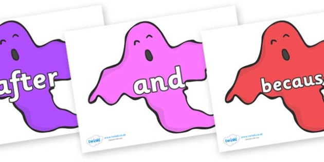 Connectives on Ghosts (Multicolour) - Connectives, VCOP, connective resources, connectives display words, connective displays