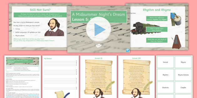 A Midsummer Night's Dream Lesson Pack - A Midsummer Night's Dream, Shakespeare, sonnet, poetry