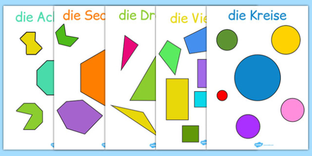 2D Regular and Irregular Shape Posters German - german, 2d, regular, irregular, shapes, posters, display