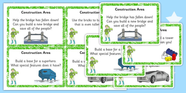 EYFS Superhero Themed Construction Area Challenge Cards - superhero