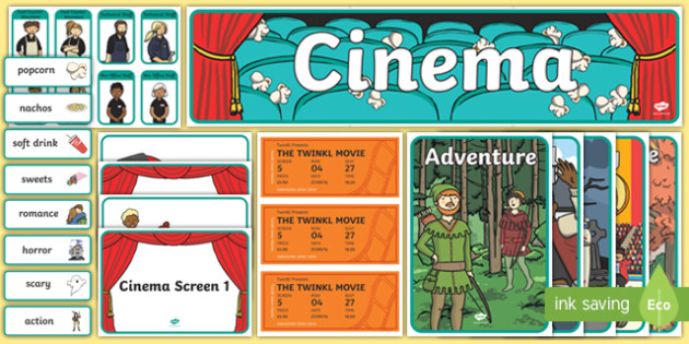 Cinema Role Play Primary Resources, Cinema, Film, movie, Role play, play, popcorn, ticket, flick, Early Years (EYFS), KS1 & KS2 Primary Teaching Resources