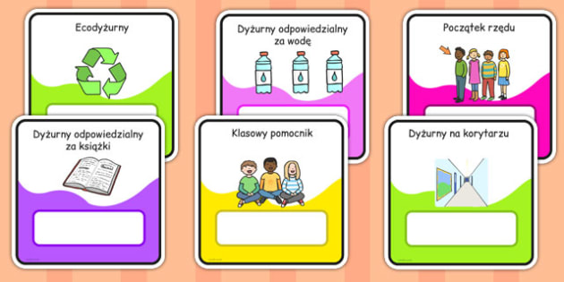 Monitor and Job cards Polish - responsibility, information, roles, choice, classroom organisation, rota, schedule, ks1, ks2
