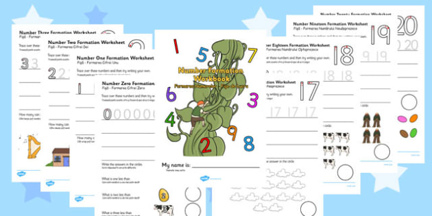 Jack and the Beanstalk Number Formation Workbook Romanian Translation - romanian, overwriting