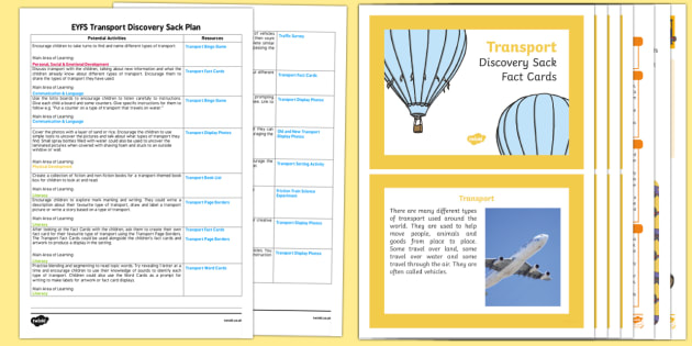 EYFS Transport Discovery Sack Plan and Resource Pack - eyfs, transport, resource pack