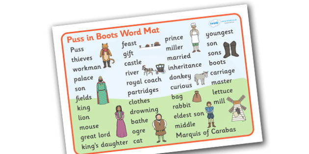 Puss in Boots Word Mat (Text) - Puss, cat, in boots, royal, coach, curier, miller, king, word mat, writing aid, mat, text, king's daughter, donkey, prince,Marquis of Carabas, mill, boots, inheritance, son,  story, traditional tale, story book, story