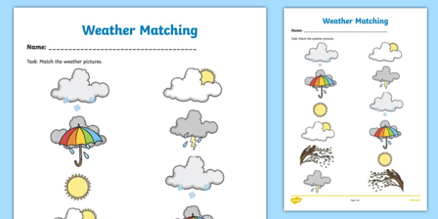 Weather Symbols Matching  Activity Sheet-Irish, worksheet