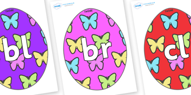 Initial Letter Blends on Easter Eggs (Butterflies) - Initial Letters, initial letter, letter blend, letter blends, consonant, consonants, digraph, trigraph, literacy, alphabet, letters, foundation stage literacy