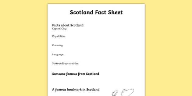 Scotland Factsheet Writing Template - scotland, scotland fact sheet, scotland fact file, scotland worksheet, united kingdom, uk, ks2 geography, ks2 places