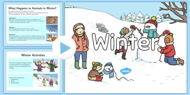 KS1 All About Winter PowerPoint - ks1, winter, information, powerpoint