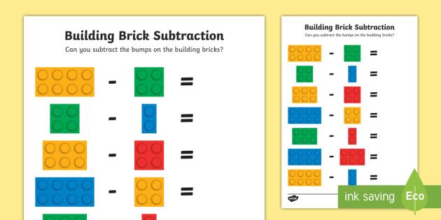 Building Brick Subtraction Activity Sheet - worksheets, bricks, build