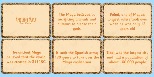 Amazing Maya Civilisation Display Fact Cards - ancient maya