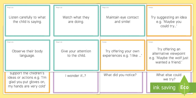 EYFS Sustained Shared Thinking Prompt Cards for Practitioners Other