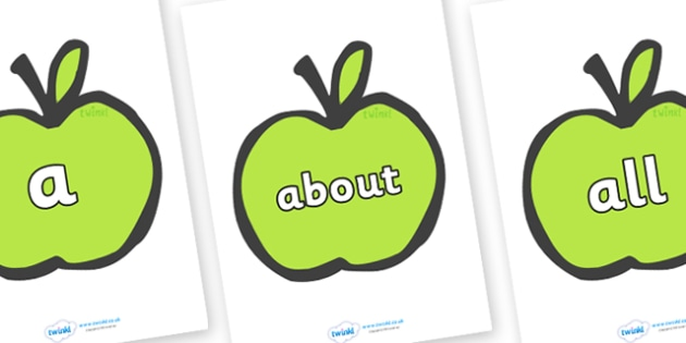 100 High Frequency Words on Apples - High frequency words, hfw, DfES Letters and Sounds, Letters and Sounds, display words