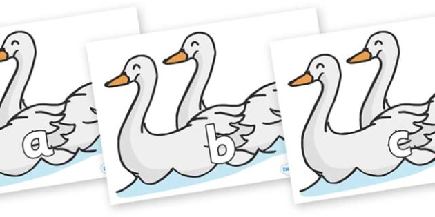 Phase 2 Phonemes on Swans - Phonemes, phoneme, Phase 2, Phase two, Foundation, Literacy, Letters and Sounds, DfES, display