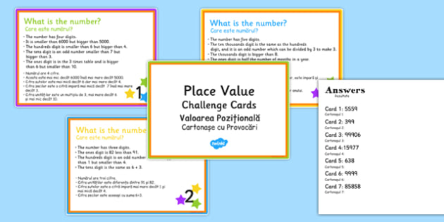 Place Value Riddle Challenge Cards Romanian Translation - romanian, place value, riddle, challenge cards