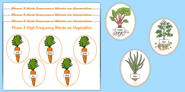 Phase 3 High Frequency Words on Vegetables Word Cards