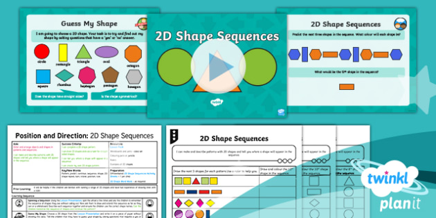 PlanIt Y2 Position and Direction Lesson Pack Pattern and Sequence (2) - Geometry, Pattern, predict, continue, sequence, shape, 2D shape repeat, turn, rotate, position, rule