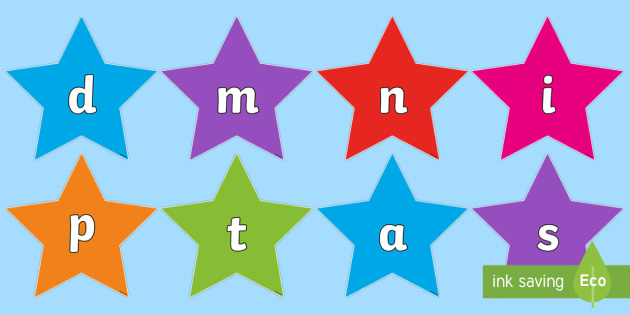 Phase 2 on Stars Multicolour Cut-Outs - Phase 2 Phonemes on Stars (Multicolour) - Phonemes, phoneme, Phase 2, Phase two, Foundation, Literac