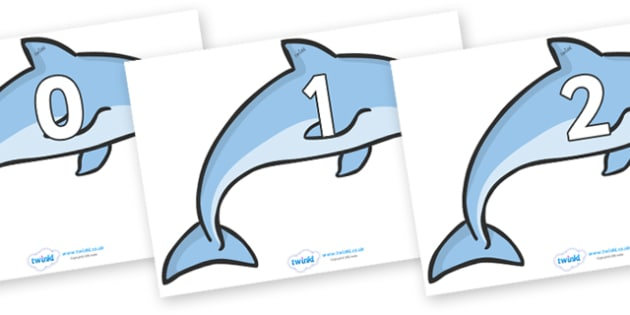 Numbers 0-31 on Dolphins - 0-31, foundation stage numeracy, Number recognition, Number flashcards, counting, number frieze, Display numbers, number posters