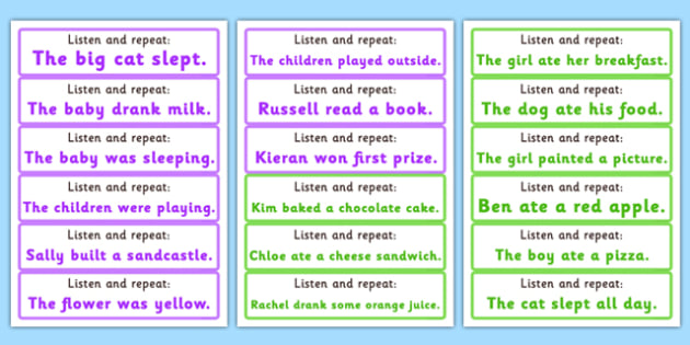 Listen and Repeat 4-5 Word Length Sentence Cards - listen, repeat