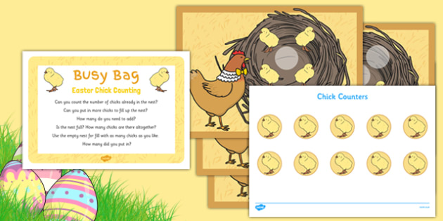 Easter Chick Counting Busy Bag Prompt Card and Resource Pack - Easter, chicks, counting, busy bag, counting to 5